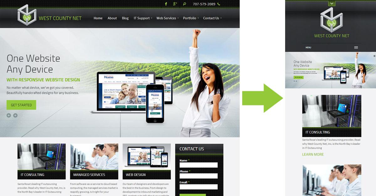 screenshot of West County Net website both on desktop and mobile platforms