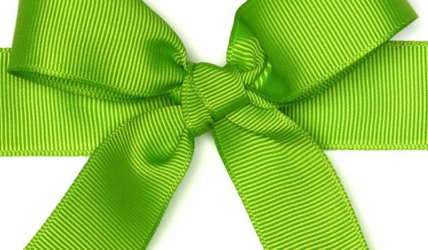 green ribbon tied into a bow