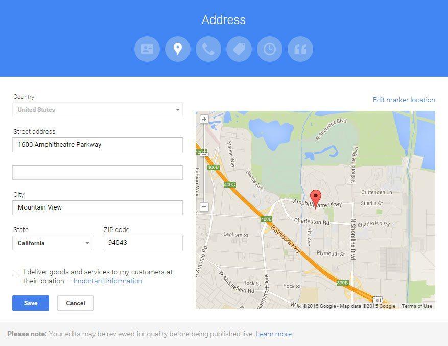 Google My Business - Business Address