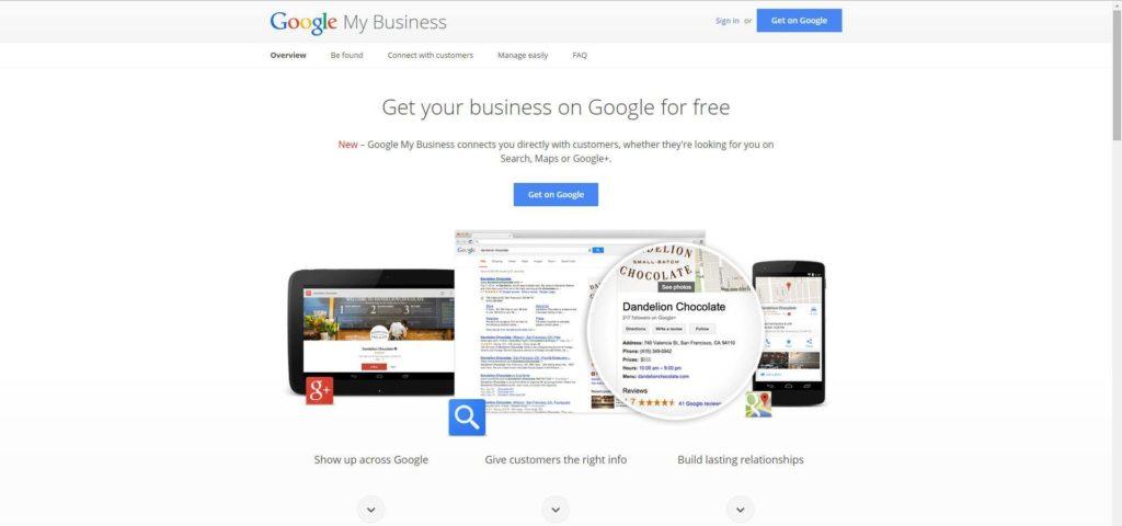 Google My Business Splash Page