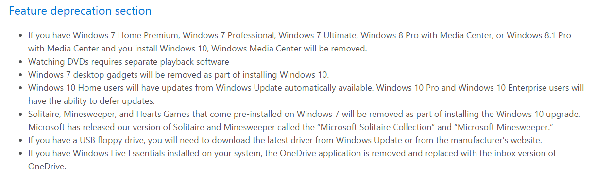 Windows 10 Loss of Features