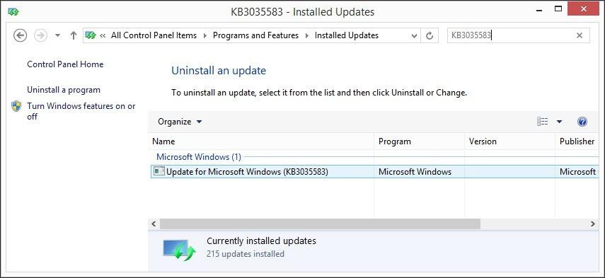 Uninstall Windows 10 Update KB3035583