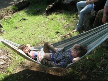 Chris Frost's daughters, Teagan and Tessa, sleeping in a hammock