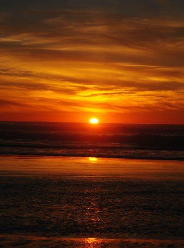 Beautiful vista of Pacific Ocean outside Sonoma County at Bodega Bay at sunset