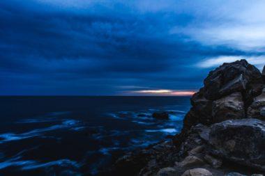Beautiful vista of Pacific Ocean outside Sonoma County at Bodega Bay at night