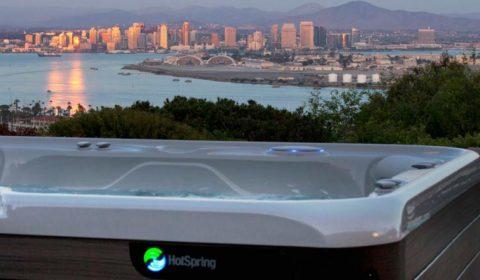 HotSpring hot tub available at Creative Energy overlooking beautiful vista of San Francisco Bay Area