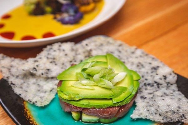 Perch and Plow Portfolio image assortment of fresh tuna and avocado.