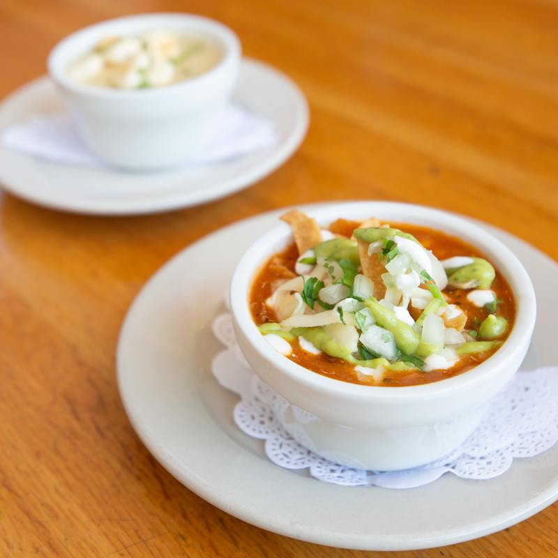 Bowl of delicious tortilla soup served at McNear's Saloon and Dining Hall