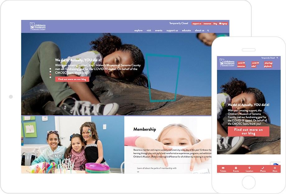 screenshot of Children's Museum of Sonoma County website both on desktop and mobile platforms